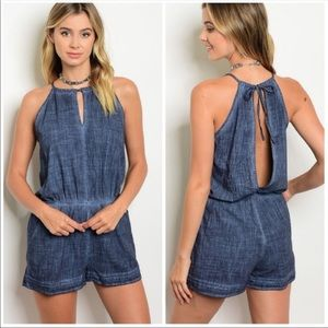 Pants - NWT Blue Mineral Washed Romper